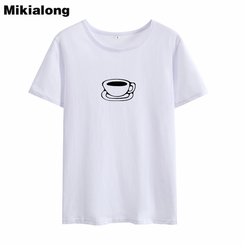 HETUAF Tea Coffee Graphic Tees Women Kawaii Harajuku Printed Tshirts Cotton Women Ulzzang Punk Rock Summer T-shirt Women Tops