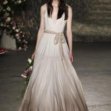 V-Neck Chiffon A-Line Beach Sleeveless Spaghetti Straps Backless Zipper Bridal Gown Floor Length 201
