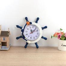 Modern Mediterranean Style Ship Wheel Wall Art Hanging Clock Home Decor Gift
