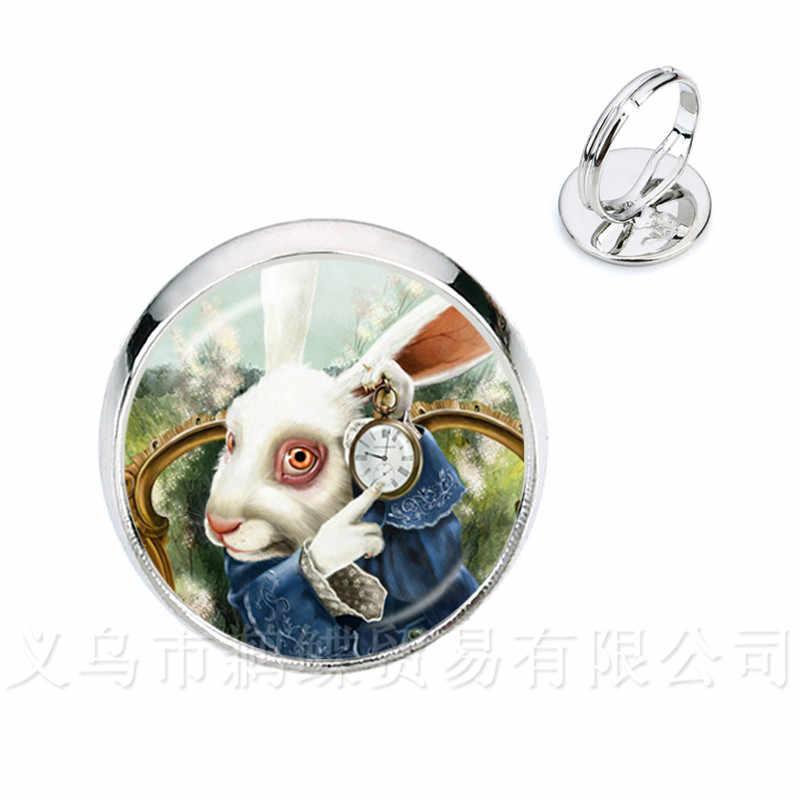 Alice no país das maravilhas anéis cheshire cat vidro redondo cúpula diy jóias prata/golder chapeado 2 anéis de cor para presente feminino