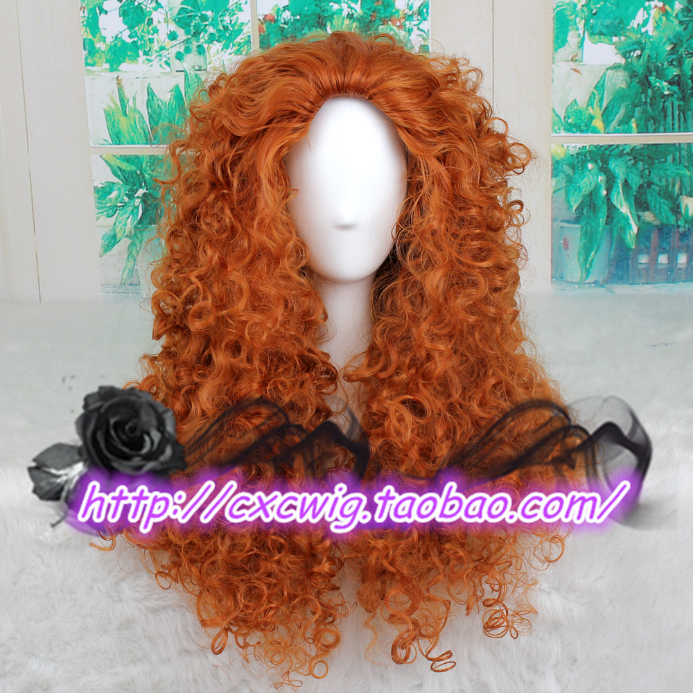 Anime Movie Brave Princess Merida Cosplay Orange Wig Curly Role Play Wig Halloween Long Hair With Traditional Methods
