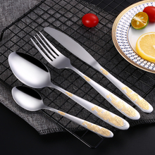 Lemeya 24Pcs/Set Stainless Steel Gold Plated Cutlery Set Dinnerware Silverware Steak Knife Fork Spoon Western Food Tableware Set