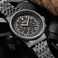 MEGIR Relógios mens de quartzo mostrador grande esporte masculino Luminosa Multifuncional banda de aço dos homens relógio de pulso relogio masculino
