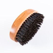 Pria Boar Bristle Beard Brush Boar Kumis Sikat Rambut Kayu Melengkung Menangani Sikat Cukur Jenggot Wajah Pesan Beard Oil Brush