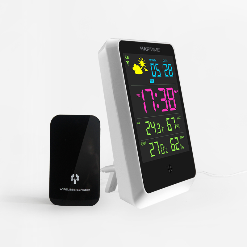 Home Wireless Weather Station Colorful LCD Digital In/Outdoor <font><b>Temperature</b></font> Humidity Snooze Alarm Clock Weather Forecast Meter
