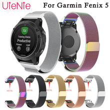 22mm Milanese Watch Strap Replacement Magnetic Loop Metal Wristband stainless steel Watchband for Garmin Fenix 5 Straps
