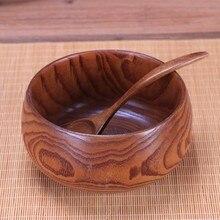 Creative Wooden Bowl Salad Ramen Soup Tableware Bowls Kids Food Container Instant Noodles For Kitchen Rice Tigelas Handmade