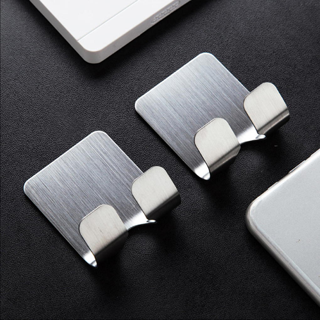 Hot Self Adhesive Stainless Steel Power Plug Holder Shaver Toothbrush Washroom Wall Cup Hook Organizers