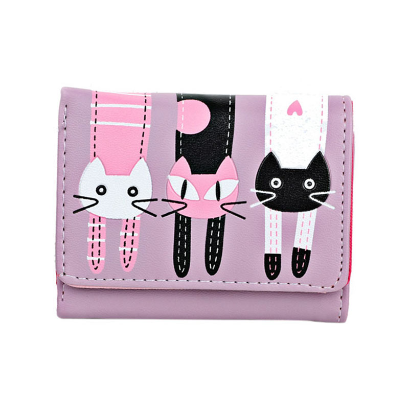 Women Coin Purse PU Leather Cartoon Cat Card Holder Ladies Casual Clutch Money Bag Short Wallet -OPK(China)