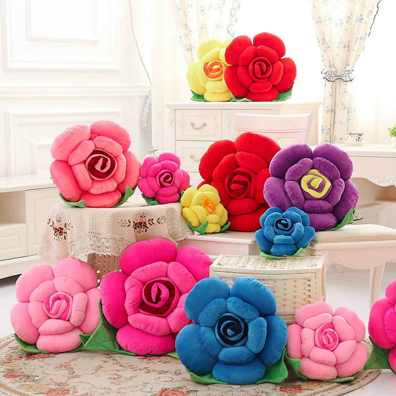 Cute plush toy rose flower pillow car sofa waist bolster on creative birthday gift plush toys