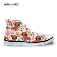 INSTANTARTS 2018 New Design Women High Top Canvas Shoes Dachshund Dog Sneakers 3D Pet Dog Print Girl Woman's Casual Flats Shoes