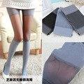 Mulheres Outono Magro Collants Costura Falsos Meias de Alta Tubo de Meia-calça Fina Sexy Cânhamo Cinza Listrado Horizontal