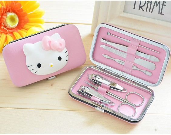 цена PU Bag Hair Scissors Bags cartoon hello kitty Girl Fashion Multifunction Makeup Pouch Toiletry Case Stainless steel seven sets