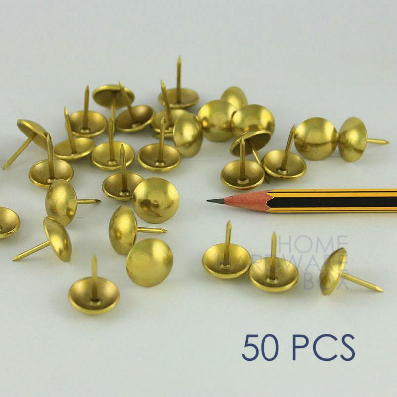 50 Pcs Upholstery Round Tack Decorative Nail Furniture Rivet Brass Golden 5  8 16mm