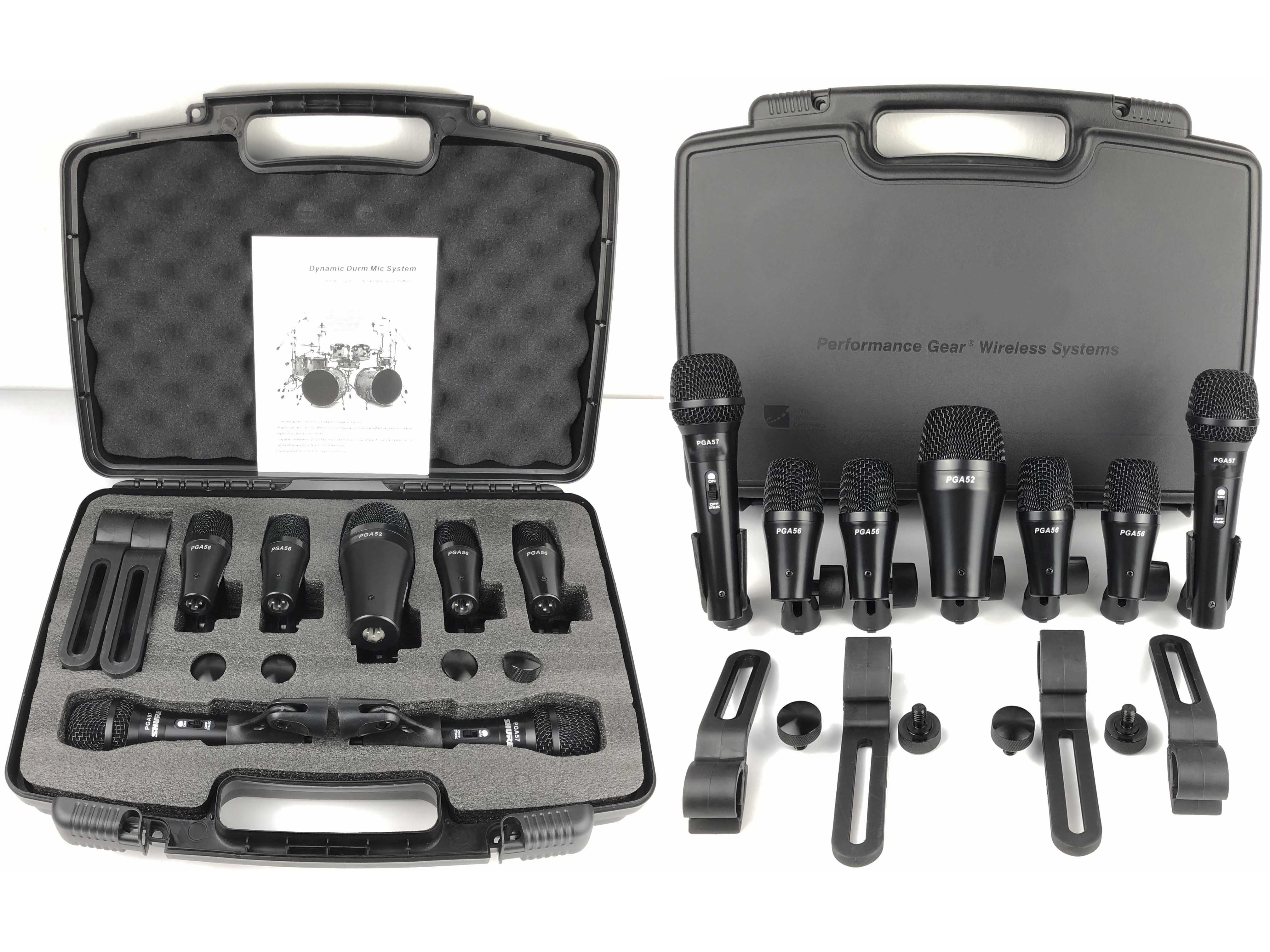 DrumKit7 Professional Seven Piece Microphone System For Tom Toms Snare Bass Drums Guitar Brass with Accessories