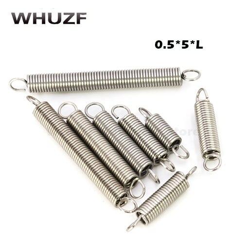20 Stücke 0,5x5mm 0,5mm Edelstahl Zugfeder Mit Einem Haken Zugfeder Länge 15mm Zu 60mm Seien Sie Freundlich Im Gebrauch
