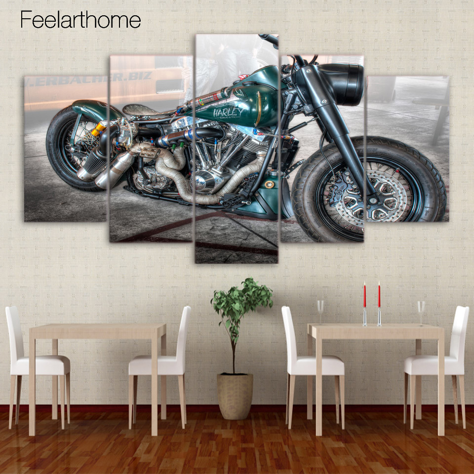 HD Printed Pretty Retro Motorcycle Painting Children's