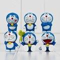 6 pcs/slot Modelos Doraemon Doraemon Bonito Mini PVC Figuras Brinquedos Presentes de Natal