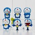 6 unids/ranura Modelos Doraemon Doraemon Lindo Mini PVC Figuras Juguetes Regalos de Navidad