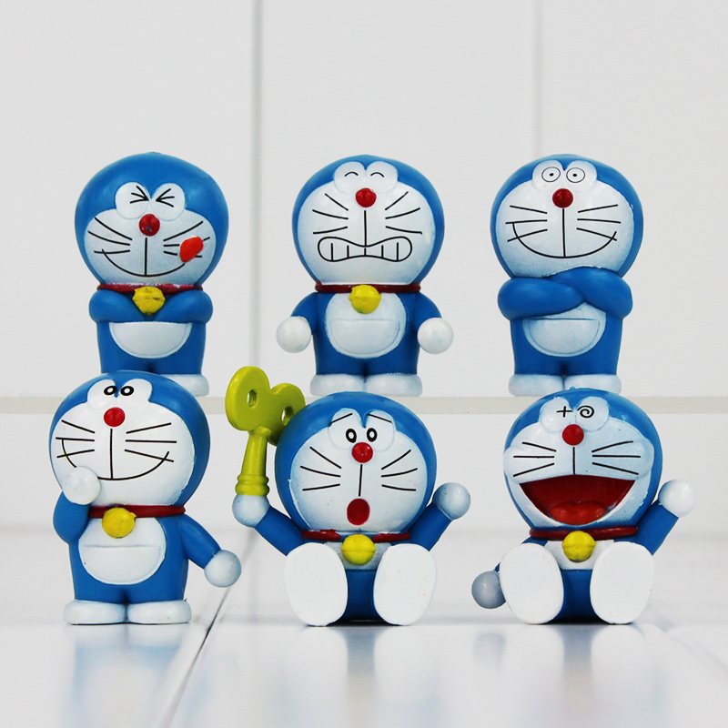 ღ ღ6pcs slot cute doraemon mini pvc figures doraemon models toys