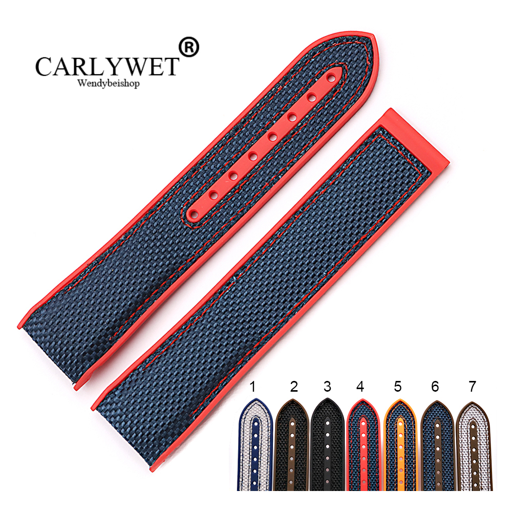 CARLYWET 20 22mm Wholesale Rubber Silicone With Nylon Replacement Watch Band Strap Belt For Planet Ocean 45 42mm