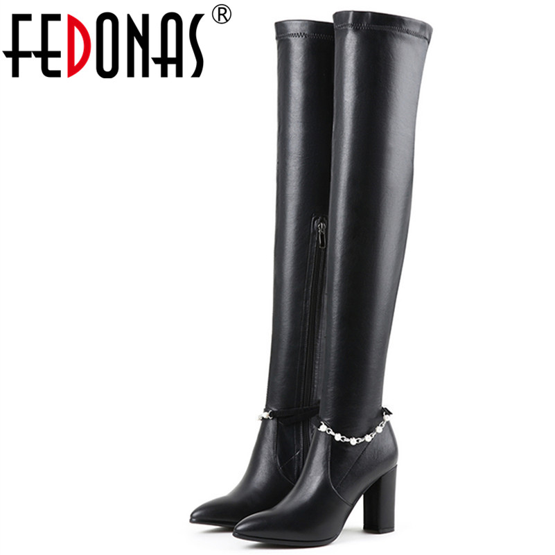 FEDONAS 1Fashion Women Over The Knee Boots Autumn Winter Warm Genuine Leather High Heels Shoes Woman Sexy Party Dancing Boots 20cm pole dancing sexy ultra high knee high boots with pure color sexy dancer high heeled lap dancing shoes