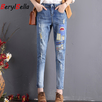 Summer Jeans for Women New Casual Embroidered Patches Pattern Pants Pantalon Femme Plus Size Denim Jeans England Style Trousers