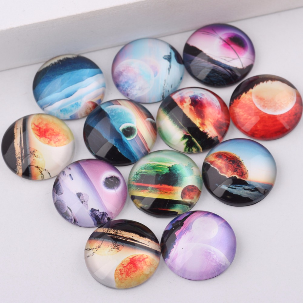 reidgaller mixed handmade sci fi photo round glass cabochon 10mm 12mm 14mm 18mm 20mm diy jewelry findings components