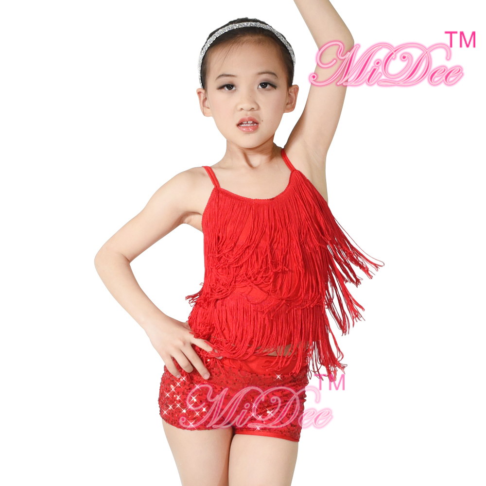 MiDee Fringes Top Sequins Shorts Skating Performance Στολές Διαγωνισμός Κοστούμια Latin Dress Fringe For Girls
