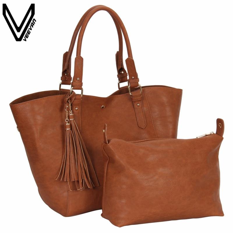 ФОТО VEEVANV Fashion Totes Bags For Women High Quality Pu Leather Handbags Vintage Bucket Bag Tassel Fringe Shoulder Bag For Ladies