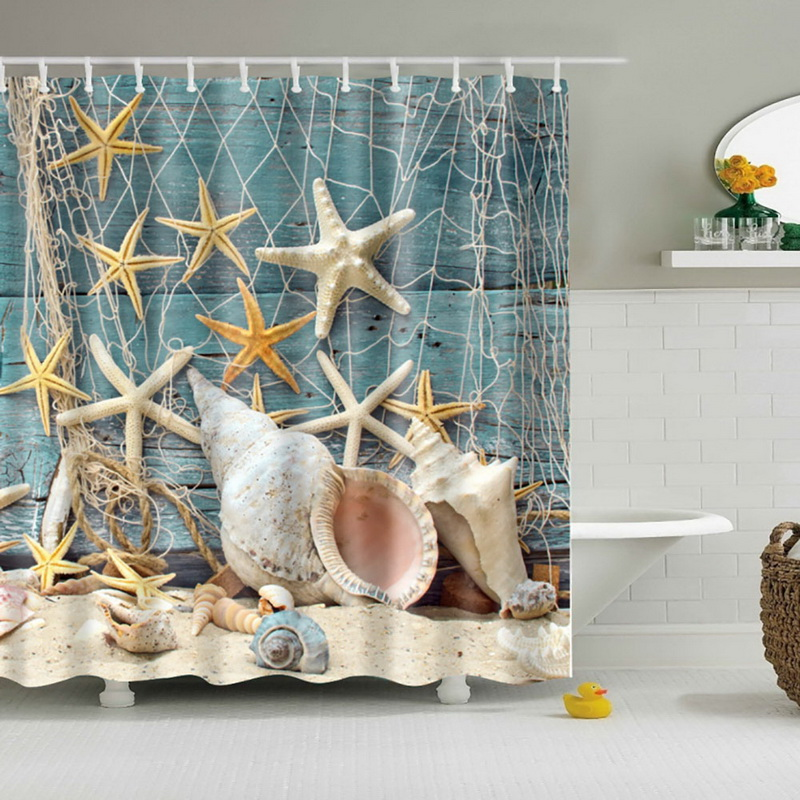 2018 Waterproof Bath Curtains Modern Beach Shells /Custom Distinctive Cartoon African Woman Waterproof Bathroom Shower Curtain
