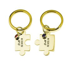 лучшая цена Exclusive Keychain 18K Gold Plated Friendship Keychain Personalized with Any Two Names/dates and Birthstones YP2740