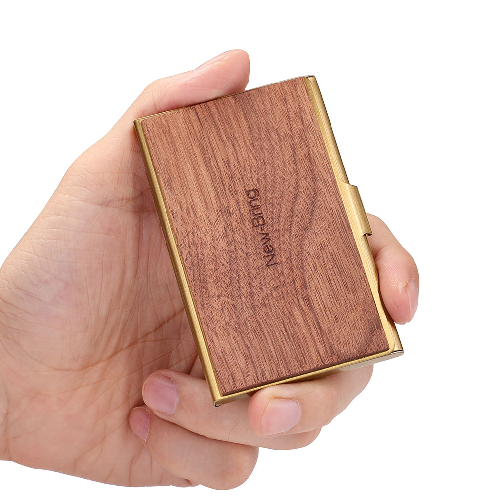 Image 3 - NewBring Mini Wood Metal Business Card Case Slim Bank Credit ID Card Holder Front Pocket For Gift-in Card & ID Holders from Luggage & Bags