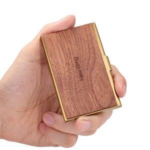 Image 3 - NewBring Mini porte cartes professionnelles en métal en bois mince porte carte didentité de crédit bancaire poche avant pour cadeau