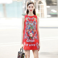 2018 spring and summer catwalk show new red festive dress vest bride printing dress A line sleeveless dress female short dresse