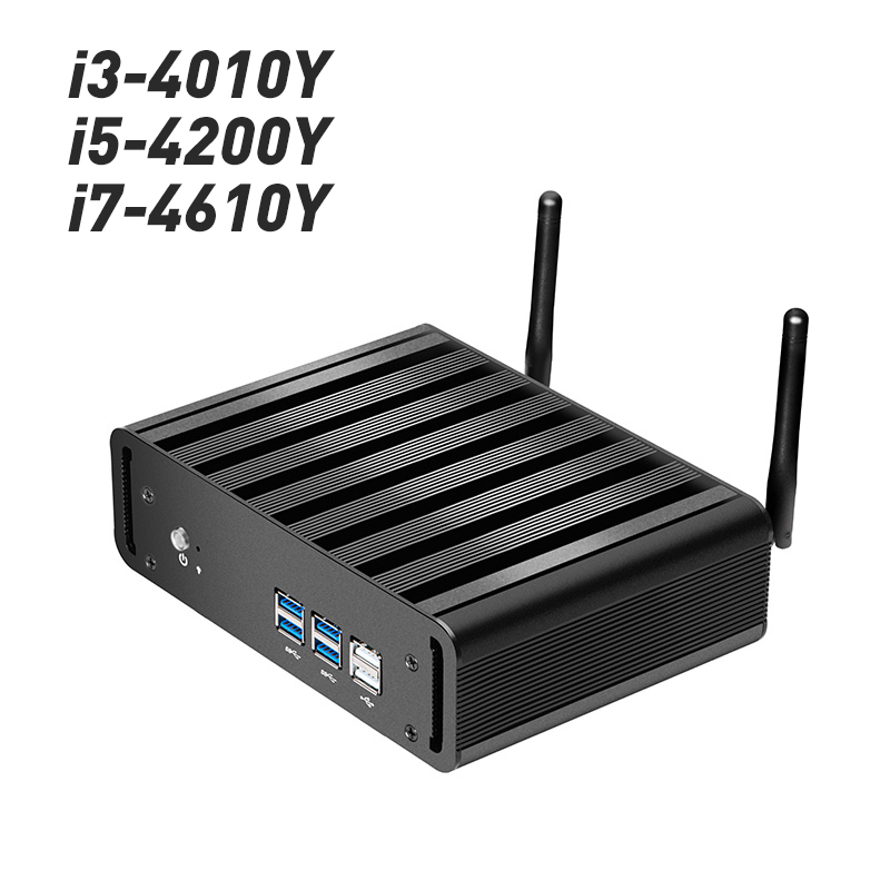 Mini Computer Fanless Intel Core i3-4010Y i5-4200Y i7-4610Y Windows 10 Linux HDMI VGA WiFi Gigabit LAN Compact Desktop PC mini computer windows 10 mini pc cpu intel core i7 4610y i5 4210y i3 4010y ddr3 ram office computer gaming pc hdmi vga wifi