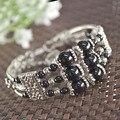 Grade AAA Black Onyx Handmade Women Bangles Heart Dangling Extra Chain Adjustable Bracelet