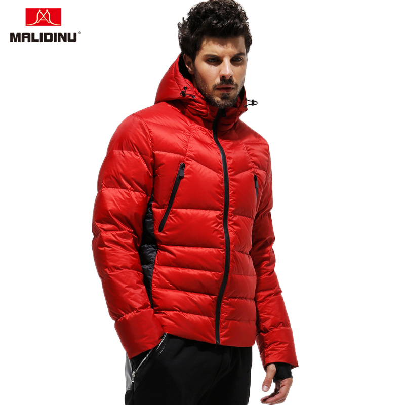 MALIDINU 2019 New Arrival Men Down Jacket Warm Coat 70%White Duck Puffer Parka Detachable Hood Russian Size