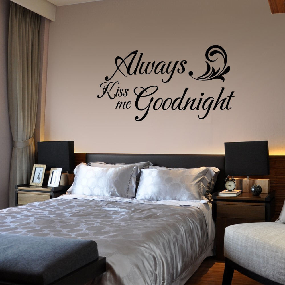 Always Kiss Me Goodnight - Love Quote Romantic Vinyl Saying Couple Room Decor 34 x 18 M ...
