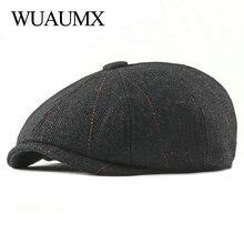 Wuaumx Ретро Newsboy шапки Мужские Восьмиугольные шляпы черные британские живописцы шапки осень зима береты в елочку плоские шапки gavroche
