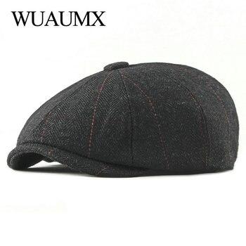 f932a76daa0f Gorras Retro de waumx, gorras octogonales para hombre, sombreros de  pintores negros y ingleses, boinas de otoño e invierno, gorras planas de  espiga
