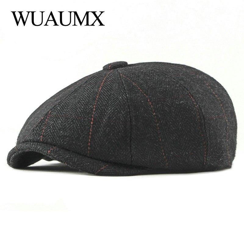 Wuaumx Retro Newsboy Caps Men Octagonal Hats Black British Painters Hats Autumn Winter Berets  Herringbone Flat Caps Gavroche