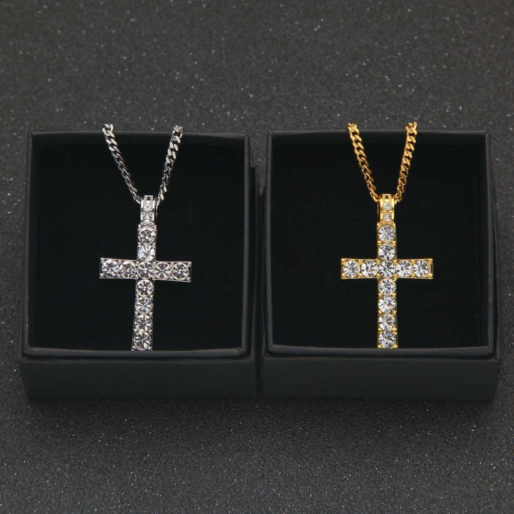 Uwin คลาสสิก Hiphop เครื่องประดับ Gold Silver Mini Cross สร้อยคอและจี้กับ Bling Rhinestone สร้อยคอแฟชั่นผู้หญิง/ผู้ชาย