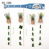 YO CHO 4PCS Four Models Fake Flower For Home Potted Letters Decorative DIY Artificial Grass Hanging Plant Hawaiian Party Decor
