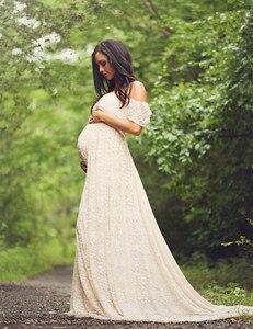 Image 2 - New Maternity Fancy Photo Shooting Pregnant Dress Maternity Photography Props Maxi Maternity Lace Maternity Dress