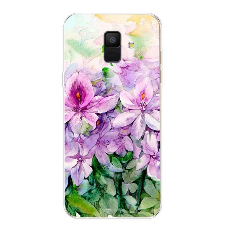 สำหรับ Samsung Galaxy A600 A600F กรณี A6 2018 Fundas Tpu tropical cactus สาขา Flora กรณีทาสี E011
