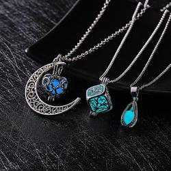 Rinhoo New Hot Glowing in the Dark Pendant Necklace Women Girl Retro Hollow Moon Luminous Charm Necklace Jewelry Wholesale Gifts