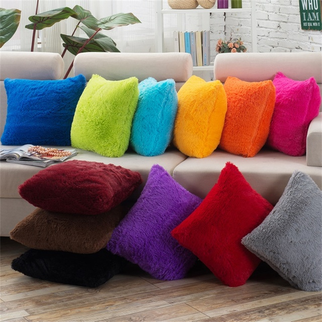 Plush Fluffy Fur Throw Sofa Seat Car Decorative Pillow Cushion Cover  Simplicity Plain Solid Cover Rose