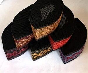 Image 5 - 통관 판매 3 개/가방 가방 블랙 고품질 자수 여름 이슬람 모자 남성 아랍 Turban 이슬람 남자 모자