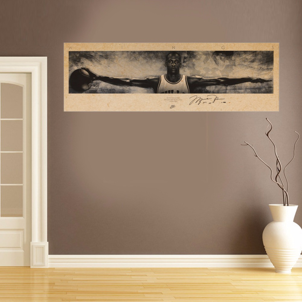 Home Decor Vintage Michael Jordan Wings MJ 23 Poster Retro Kraft Paper NBA  Basketball Star Painting Wall Sticker ZOOYOO In Wall Stickers From Home U0026  Garden ... Part 94